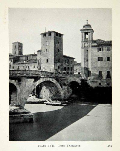 Isola Island (1914 Print Ponte Dei Quattro Capi Pons Fabricius Bridge Isola Island Tiberina - Original Halftone)