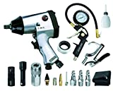 EXELAIR by Milton EX1603KIT (16-Piece Professional Air Tool Accessory and Tire Maintenance Kit) - Impact Wrench, Tire Inflator Gauge Gun w/Clip-On Chuck, Blow Gun, and Accessories