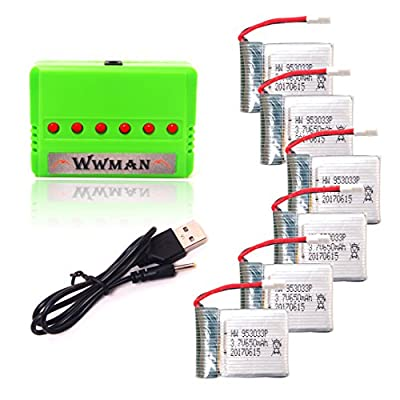 Wwman 6pcs 3.7V 650mAh Batteries and 1to6 Battery Charger for Q1012 X8tw Skyhunter Drone X8 Q9 Rc Quadcopter Drone Spare Parts