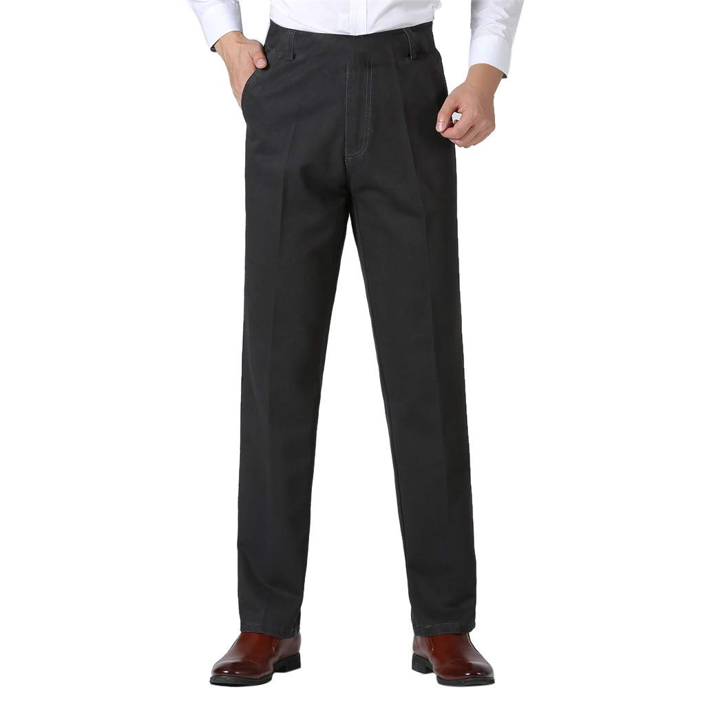 Funnygals - Mens Formal Trousers Casual Business Office Work Belted Smart Dress Pants Straight Leg Flat Front Pockets Dark Gray by Funnygals - Clothing