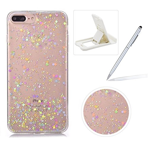 Clear Case for iPhone 7 Plus,Rubber Case for iPhone 8 Plus,Herzzer Luxury Ultra Slim Transparent Bling Glitter Soft Gel TPU Shiny Stars Design Shockproof Protective Bumper Back Case for iPhone 7 Plus/iPhone 8 Plus 5.5 inch + 1 x Free White Cellphone Kickstand + 1 x Free Silver Stylus Pen - Circle Stars