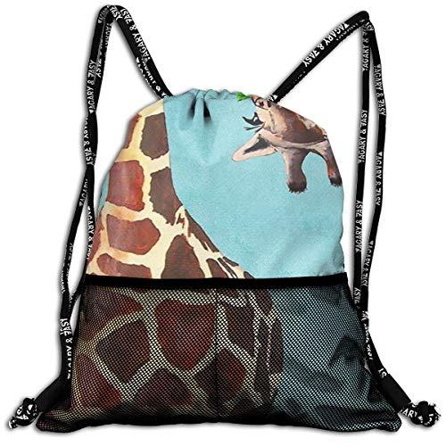 Men & Women Premium Polyester Drawstring Bag Funny Giraffe Long Rucksack Theft Proof Lightweight For Swim Soccer Baseball Bag Large Size For Camping, Yoga Runner ()