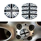 iJDMTOY (4) Black/Grey Union Jack UK Flag Style Wheel Center Cap Covers For MINI Coopers R50 R51 R52 R53 R55 R56 R57 R58 R59 R60 R61 F55 F56, etc
