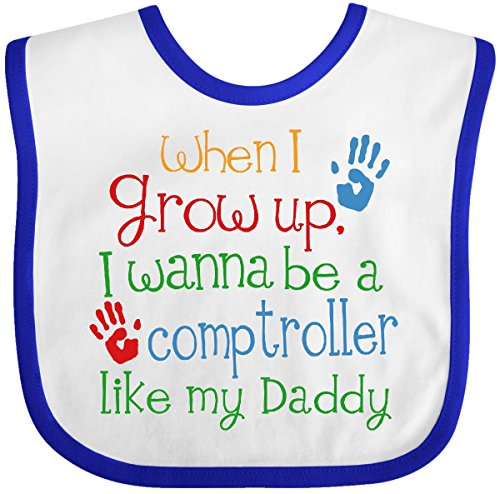 Inktastic Baby Boys' Comptroller like Daddy Baby Bib White/Royal
