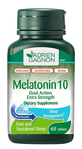 - Adrien Gagnon Melatonin 10 mg - Extra Strength Sleep Aid - All Natural Sleeping Pills for Adults - Dual Action Time Release - Fast-Dissolving - Vegan, Gluten-Free, Non-GMO (60 Tablets)