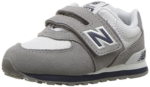 New Balance Boys' 574v1 Essentials Hook and Loop Sneaker, Grey/Navy, 6 M US Toddler