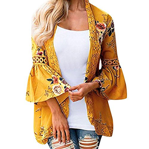 Women Lace Floral Open Cape Casual Coat Loose Blouse Kimono Jacket Cardigan by Mose