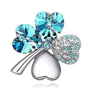 VANKER 1Pc Silver&Sky Blue- Sweet Lucky Four Leaf Clover Shape Crystal Diamond Brooch Cloth Pin Decoration Gift
