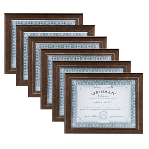 (DesignOvation Kieva Solid Wood Document Framess, Distressed Espresso Brown 8.5x11, Pack of 6)