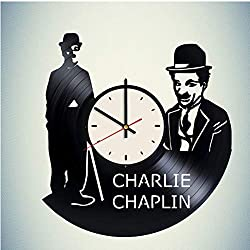 Charlie Chaplin Vinyl Clock Gift for Fans Wall Decor Art Handmade Living Room Artwork