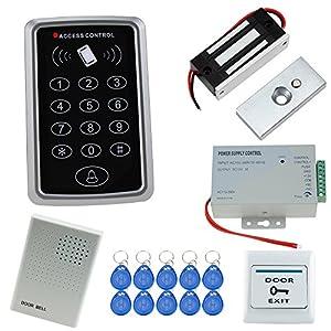 HFeng Kit sistema di controllo accessi RFID Set tastiera controller 125KHz con interruttore di alimentazione + 60KG Serratura magnetica elettrica + pulsante di uscita + 10 portachiavi + campanello 19 spesavip