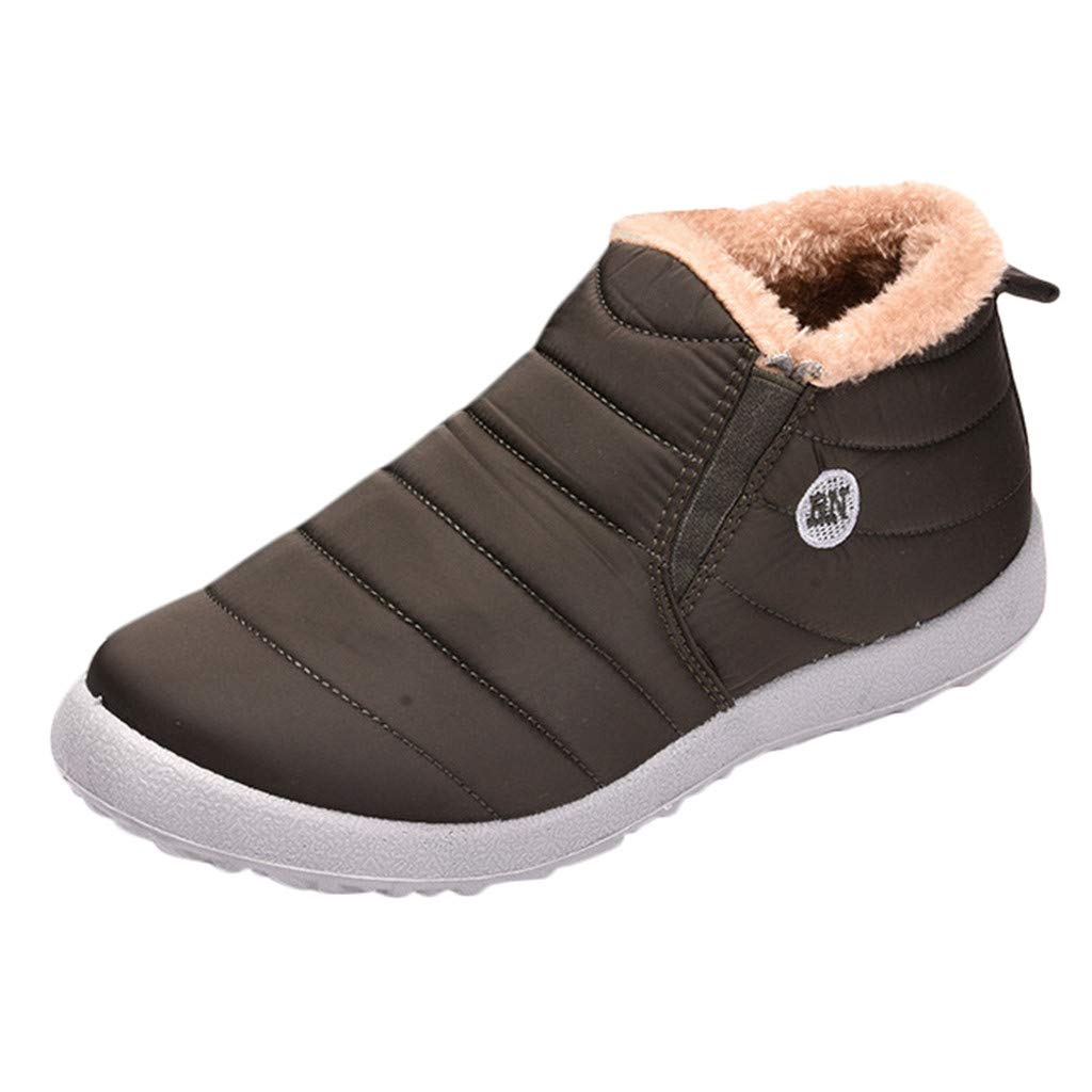 Mosunx Men High Top Boots, Fashion Boy's Plus Velvet Warm Outdoor Sports Shoes Waterproof Snow Cotton Boots Winter Warm Snow Boots by Mosunx