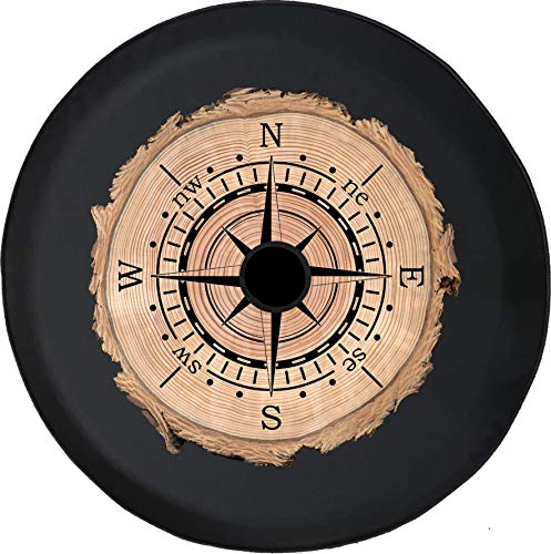 - Pike Outdoors JL Series Spare Tire Cover Backup Camera Hole Compass Sun Dial Tree Wood Series Log Black 33 in