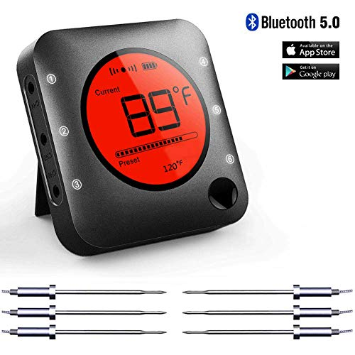 (Bluetooth Meat Thermometer Smart Wireless Remote Digital BBQ Thermometer APP Controlled with 6 Stainless Steel Probes, Large LCD Display for Cooking Smoker Grilling Oven)