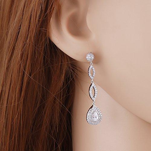 Wordless Love Full Pave Cubic Zirconia Teardrop Bridal Long Earrings White Weeding Jewelry by Wordless Love (Image #2)