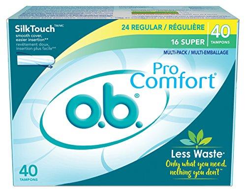 - o.b. Pro Comfort Applicator Free Digital Tampons, Regular and Super Multi-Pack - 40 Count