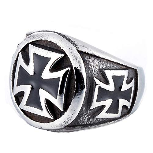 ZMY Men's Fashion Punk Jewelry 316L Stainless Steel Rings for Men Silver Titanium The Black Cross Ring (9)