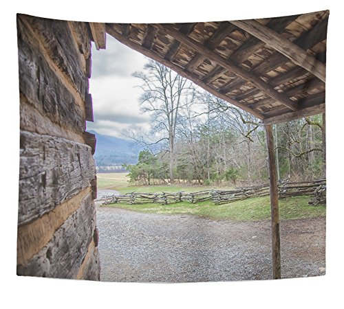 Emvency Tapestry Brown Aged View of Mountain Side From Log Cabin Front Porch Yellow America Barn Home Decor Wall Hanging 50