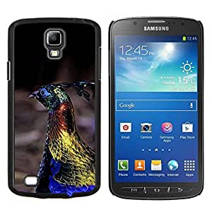 KLONGSHOP // Cubierta de piel con cierre a presión Shell trasero duro de goma Protección Caso - pájaro del pavo real vibrante oro azul de primavera - Samsung Galaxy S4 Active i9295 //