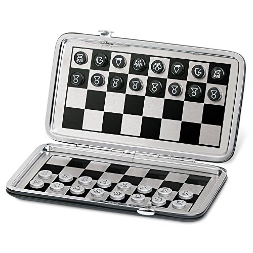 Ovee Lando Pocket Travel Magnetic Chess Board Game (Leather Travel Chess)