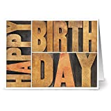 Best Note Card Cafe Birthday Cards - 24 Note Cards - Wooden Birthday Blocks Review