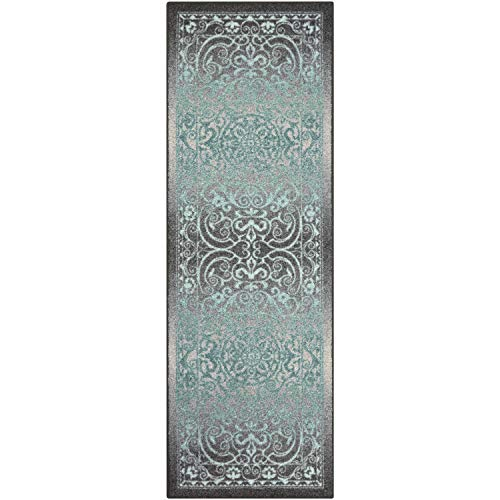Maples Rugs Runner Rug - Pelham 2' x 6' Non Skid Hallway Entry Rugs Runner [Made in USA] for Kitchen and Entryway, Grey/Blue ()