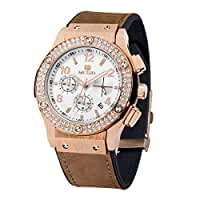 Megir Women's Luxury Watch Rose Gold Tone Analog Display Quartz Multifunction with Leather Band