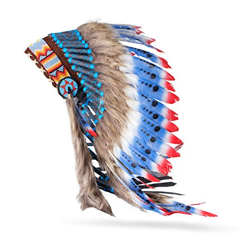 Boho Basics Native American Indian Inspired Feather Headdress Red White Blue (Length: -