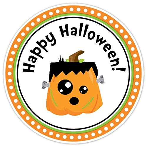 Happy Halloween Stickers, Pumpkin Frankenstein Labels, Halloween Party Favors, 2.5 inch round (24 count)