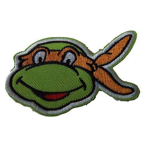 (Teenage Mutant Ninja Turtles Series Michaelangelo Face Embroidered Patch Decorative)
