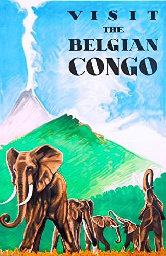A SLICE IN TIME African Belgian Congo Elephant Africa Vintage Travel Art Poster Advertisement