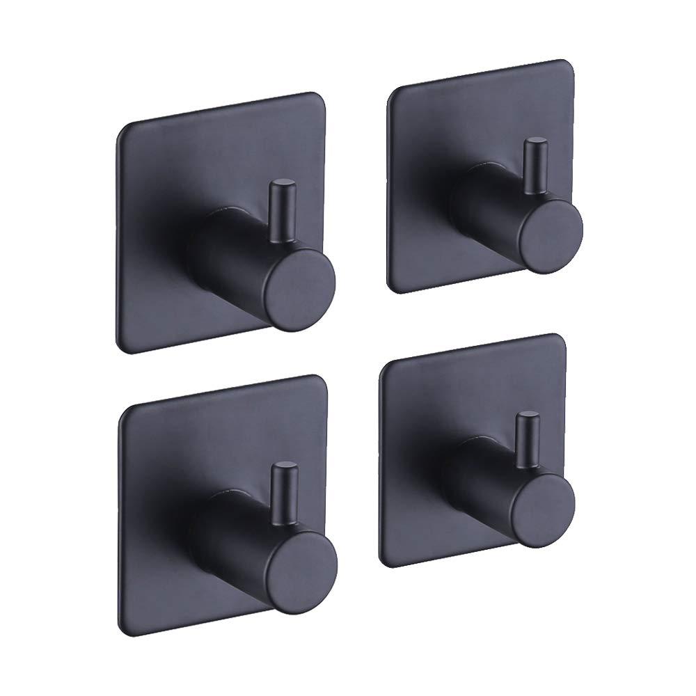 KES Self Adhesive Hooks Rail Stainless Steel 1-Hook Rack Bath Towel Hook Sticky Bathroom Kitchen Towel Multi Hanger Matte Black 4 PCS, A7060-BK-P4
