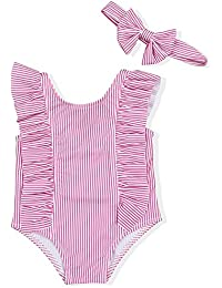 3c29d73bc5 Baby Girl Bikini Striped Beach Swimsuit Ruffles Bathing Suit Swimwear+Headband  2 Pcs Set
