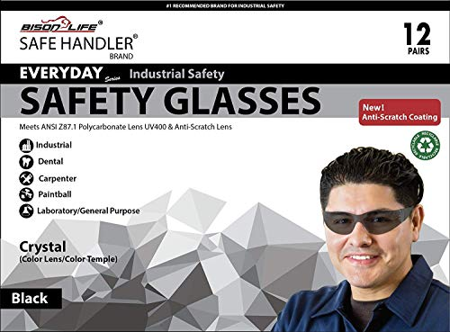 SAFE HANDLER Full Color Safety Glasses | One Size, Adult, Youth, Full Color Polycarbonate Lens and Temple, BLACK, Box of 12 (Case of 12 Boxes, 144 Pairs Total) by Safe Handler (Image #7)
