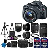 Canon EOS Rebel SL1 18.0 MP CMOS Digital SLR with EF-S 18-55mm IS STM Lens With EF 75-300mm f/4-5.6 III Telephoto Zoom Lens + 58mm 2x Professional Lens +High Definition 58mm Wide Angle Lens + Auto Flash + Tripod +Uv Filter Kit with 24GB Complete Deluxe Accessory Bundle
