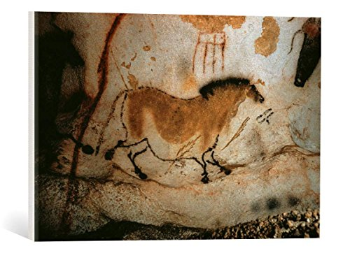 kunst für alle Canvas Print: AKG Anonymous Cave Painting in Lascaux c 15000 BC Fine Art Print, Canvas on Stretcher, Ready to Hang Wall Picture, 23.6x15.7 inch / 60x40 cm