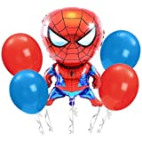 3 Pcs Spideman Foil Balloons & 50 Red , Blue Latex Balloon For Birthday Party , Baby Shower , Boys Birthday Spiderman Theme Party Decoration Best Return Gift for Boys /Kids