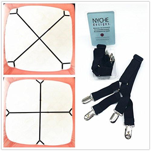 Crisscross 2 Way Adjustable Bed Sheet Straps Suspenders Grip