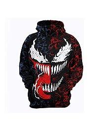 GERGER BO Venom Hoodie,3D Venom Hoodie for Men Printed Hoodie Sweatshirt