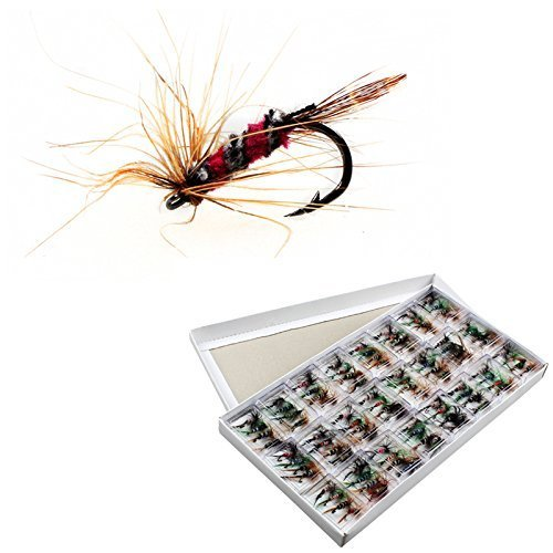 OriGlam 96pcs Fly Fishing Dry Flies Lure Hooks Artificial Bugs Pack, Trout Bait Dry Fly Fishing Hooks Lures Kit with Case Box from OriGlam
