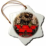 3dRose Alexis Photography - Transport Railroad - Old powerful steam locomotive. Back from the farness. Stylized photo - 3 inch Snowflake Porcelain Ornament (orn_270616_1)