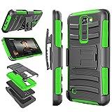 LG K7 Case, LG Tribute 5 Case, LG Treasure LTE Case, Tekcoo [Hoplite] [Green] Shock Absorbing Holster Locking Belt Clip Defender Heavy Kickstand Cases Cover For LG Treasure LTE / K7 / Tribute 5