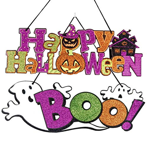 FineInno 2 Pack Happy Halloween Boo Ghost Hanging Sign Wall Sign Plaque Board Indoor and Outdoor for Haunted House, Home,Door,Office,Party (Happy -