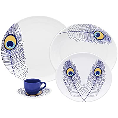 Click for Oxford Loop Porcelain Peacock Collection Dinnerware Set, White