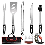 BBQ Grill Tools Set with Bag,7 Pieces Heavy Duty Stainless Steel Barbecue Grilling
