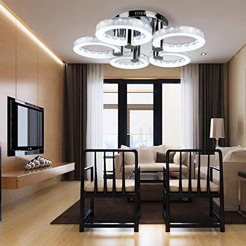 Dtemple European Modern Style LED Acrylic Chandeliers Ceiling Light Lamp With 5 Lights for Hallway Dining Room Bedroom (Five Structures Chandelier Light)