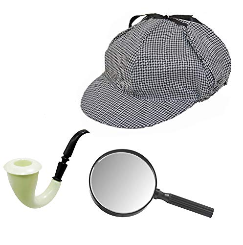 Sherlock Holmes Houndstooth Detective Hat With Costume Pipe & Magnifying Glass