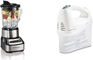 Hamilton Beach Wave Crusher Blender with 40oz Glass Jar & Beach 6-Speed Electric Hand Mixer with Snap-On Storage Case, Wire Beaters, Whisk and Bowl Rest, 250W, White (62682RZ)