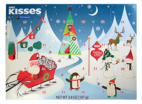 2018 Hershey's Kisses Milk Chocolate Christmas Advent Countdown Calendar with Candy, 3.8 oz