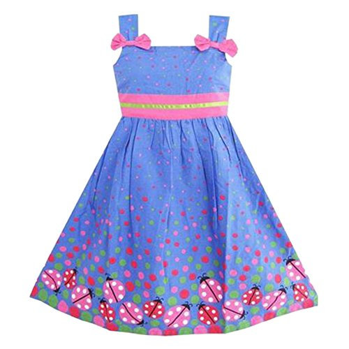 Urparcel Girl Floral Lace Dress One Piece Gauze Long Sleeve Princess Party Skirt (3-4 Years, Sapphire blue)
